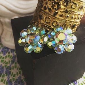 VTG Green Austrian Crystal Beaded Clip-on Earrings